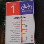 Segnaletica stradale lungo la Bicipolitana.